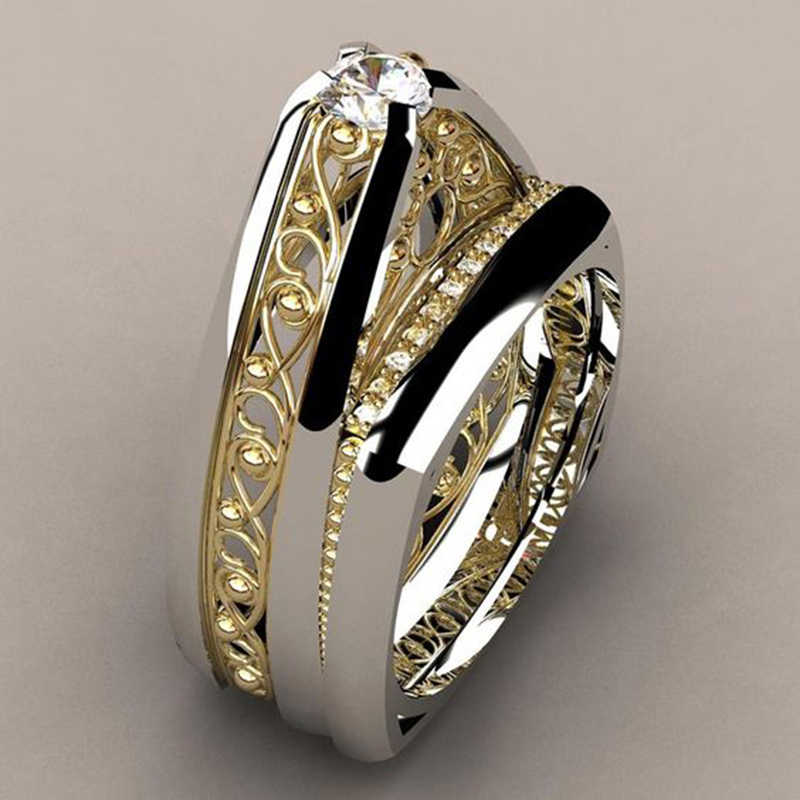 Hot Fashion Silver Gold Hollow Rings 2 Pcs/Set Men Women Promise Couple Love Finger Rings Luxury Wedding Bands Jewelry Z5M222