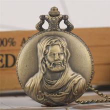 Classic Jesus Pattern Pocket Watch Vintage Thin Chain Bronze Dial Quartz Pendant Watches Populor Gifts for Male relogio bolso цена