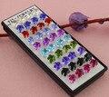 20 pares de pedra de cristal Studs brincos de prata elegante brincos para mulheres atacado