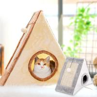 Cat Scratch Board Cat Sisal Hemp Climbing Board Kitten Corrugated Paper Pad with Plush Ball Pet Toy for Protecting Furniture