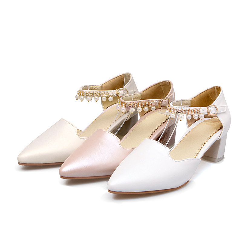 Plus Big Size Summer Bridal Women Sandals Block Medium High Heels Pointed Toe Party Wedding Faux Pearl Ankle Strap Ladies Shoes new 2017 spring summer women shoes pointed toe high quality brand fashion womens flats ladies plus size 41 sweet flock t179
