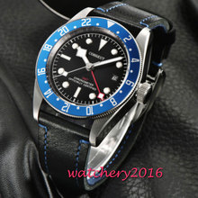 цены 43mm Corgeut Automatic Steel Watch GMT Clock Mechanical Watches Classic Men Watch Top Brand Luxury Sapphire Glass Gifts for Men