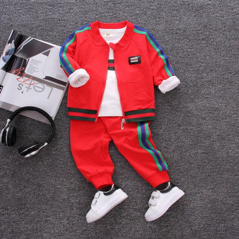 Bomber Jackets Boys Clothing Set Coat Sweatshirt Pants 3-Piece Sets Baseball Jacket Trousers Spring Autumn Children Clothes Set