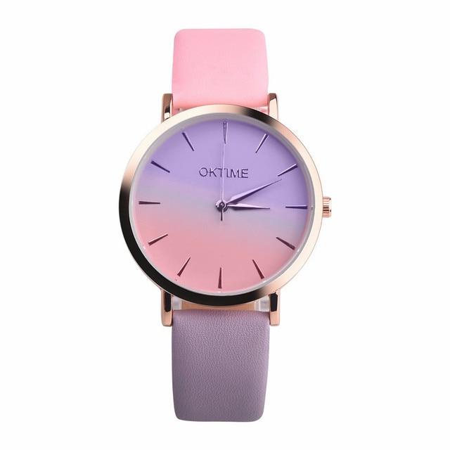 Retro Rainbow Design Women Watch Leather Band Alloy Quartz Wrist Watch Montre Fe