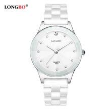 De lujo blanco de cerámica resistente al agua classic easy read deportes reloj de las mujeres de las mujeres de calidad watchestop señora rhinestone reloj