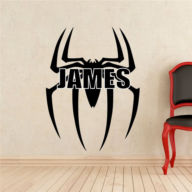 Spiderman logo wall decal superhero comics vinyl sticker room personal nursery wall decor removable waterproof decal in wall stickers from home garden on