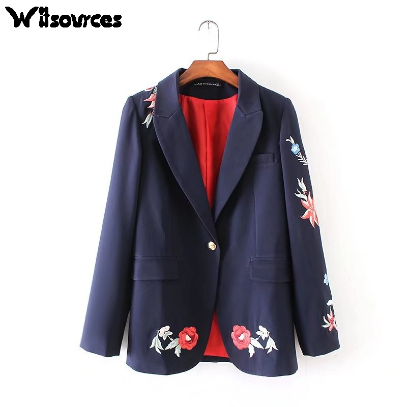 Witsources Office Blazer Women 2017 Autumn New Fashion Floral Embroidery Black Blazer for Office Lady SC2362