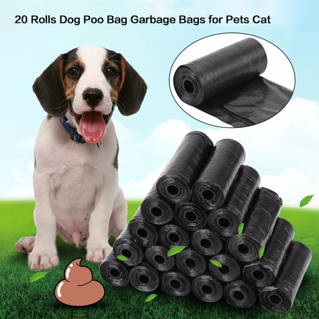 20 Roll /300PCS Dog Poop Bag Black Red Pink Blue Pet Poop Bags Dog Cat Waste Pick Up Clean Bag For Dog Hot Selling