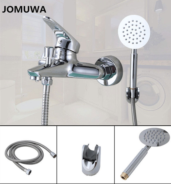 jomuwa classic bathroom shower faucet bathtub faucet mixer tap with hand shower head set wall mounted