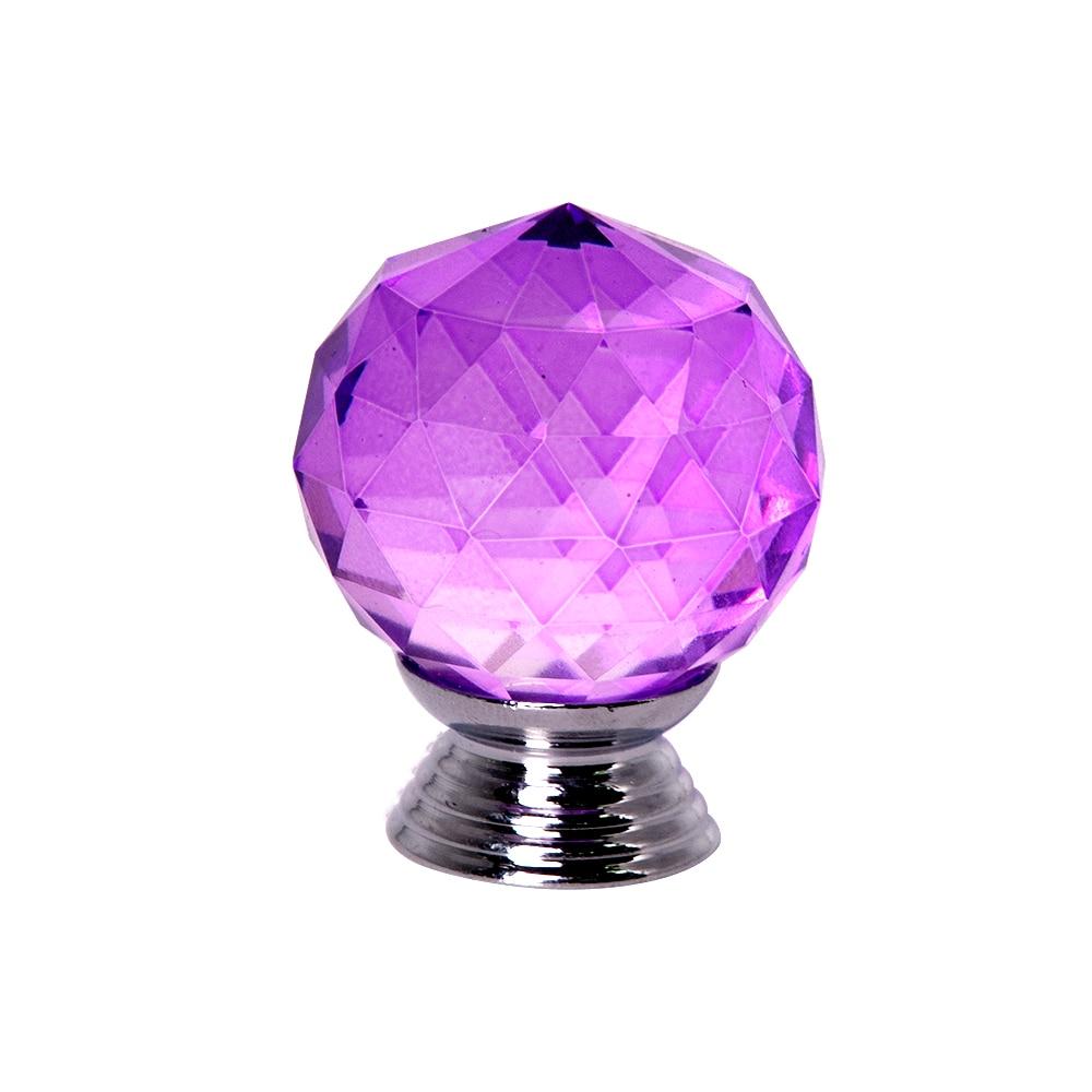 10 pcs/lot 30mm/40mm Sphérique Violet Cristal poignées de porte en verre pour Armoire à Tiroirs poignées de meuble Bouton