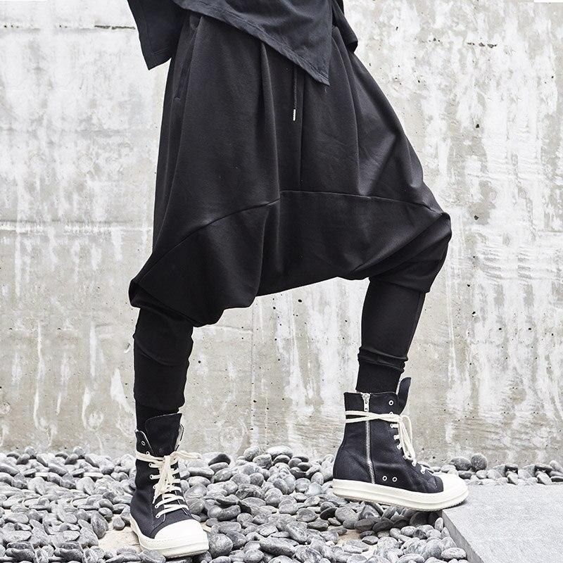 Mężczyźni nowy niskie krocza krzyż spodnie na co dzień japonia Streetwear luźne Hip Hop ciemny czarny Harem spodni Punk Gothic mężczyzna Jogger spodnie w Spodnie haremki od Odzież męska na AliExpress - 11.11_Double 11Singles' Day 1