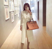 2016 Solid White Suit Long Style Women S Vest Feminine Pockets Buttons All Matching Gilet Sleeveless
