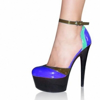 Hand Made Color Block 6 Inch High Heel Shoes 15cm Lady Party Heels Strappy Exotic Shoes
