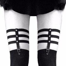 Fashion Cosplay Sexy Suspender Belt Girls Harajuku Punk Gothic Garter Bet Women Elastic Rivets Thigh Leg Ring Garter
