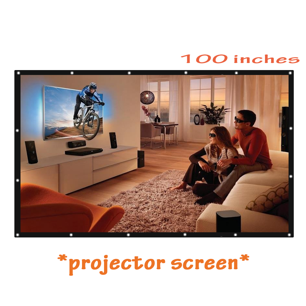 On sale! 100 inch 16:9 HD Projector Screen Portable Folded Front Projection Screens with Eyelets