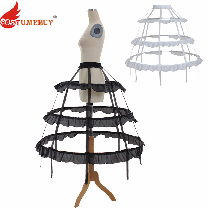 CostumeBuy Women Cosplay Lolita Prom Dress Petticoat 3 Hoop Crinoline Cage Bustle Victorian ROCOCO Pannier Accessories 2 Colors