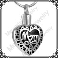 MJD8372 Mom Heart Cremation Jewelry Keepsake Memorial Pendant Urn Necklace Ashes Holder