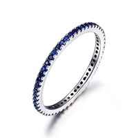 Volledige Eternity Natural Echt Blue Sapphire Stones 14 k White Gold Wedding Band Vrouwen Verlovingsring Belofte Ring Stapelbaar