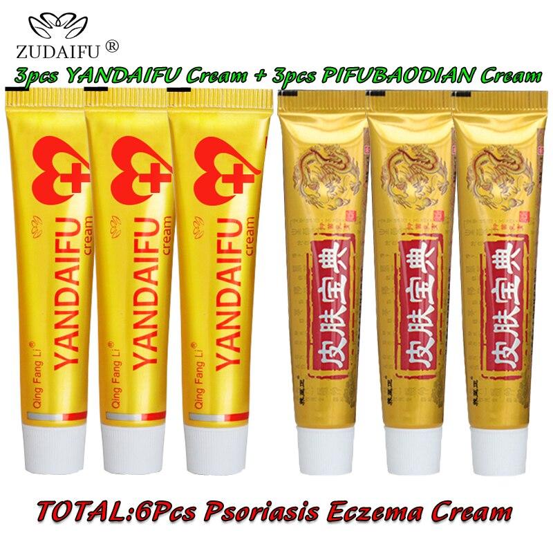 3pcs Original Psoriasis Dermatitis Eczema Pruritus Skin Problems Cream+3pcs Yandaifu Cream Skin Care Without Retail Box