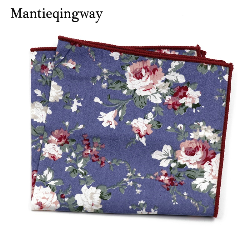 Mantieqingway Vintage Ladies Cotton Floral Pocket Handkerchiefs Casual Men's Printing Hanky Pocket Square Towel For Wedding