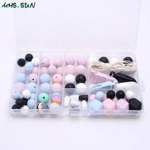 Image 5 - MHS. ZON Hot Siliconen Kralen Set Baby Tandjes Kralen Food Grade Bijtring Kits Accessoires Diy Chewable Sieraden speenketting