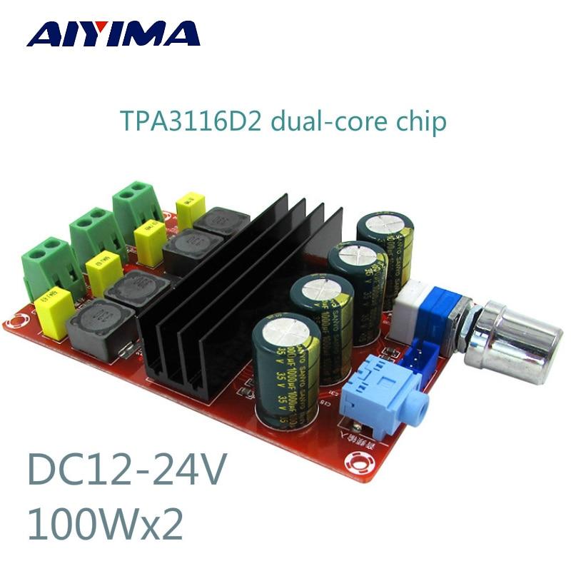 High Power Digital Amplifiers Board TDA3116D2 Two Channel Audio Amplifier Board 12-24V 100Wx2