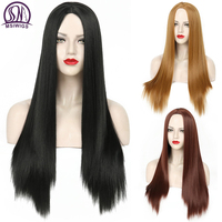 MSIWIGS long Straight Black Synthetic Wig for Women Cosplay Wig 24 inch