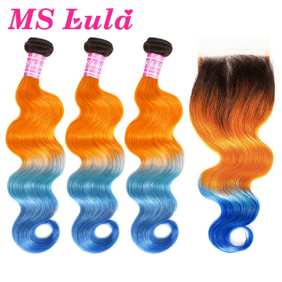 MS Lula Brazilian Body Wave 3 Bundles With 4x4 Closure Ombre Orange&Blue Remy Human Hair Weave Free Part Closure Hair Extension