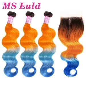 Image 1 - MS Lula Brazilian Body Wave 3 Bundles With 4x4 Closure Ombre Orange&Blue Remy Human Hair Weave Free Part Closure Hair Extension