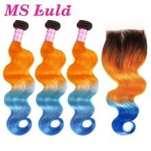 MS Lula Extensión de cabello humano brasileño ondulado, con cierre 3 mechones 4x4, degradado, naranja y azul, Remy, cierre sin división
