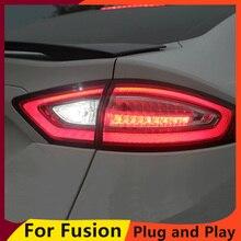 KOWELL Car Styling 1 partia 4 sztuk dla Ford fuzja mondeo tylne światła 2013 2016 tylna lampa led tylna lampa DRL + hamulec + Park + sygnał lig