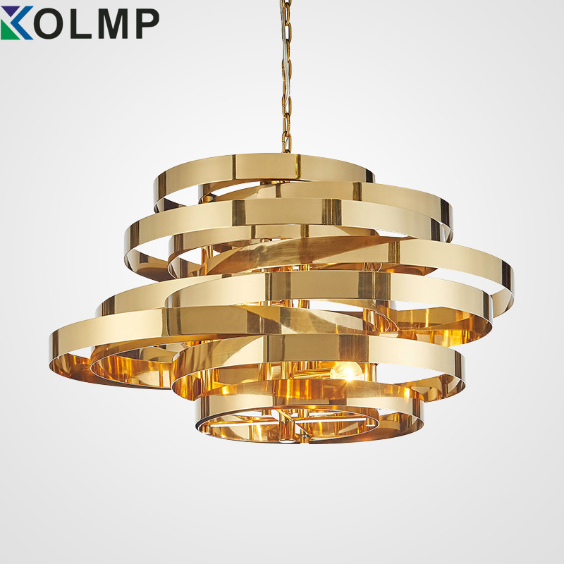Post-modern creative gold metal pendant light plated stainless steel ring fashion hanging lamp for living room indoor 100-240n men stainless steel gold plated blue rhinestone ring