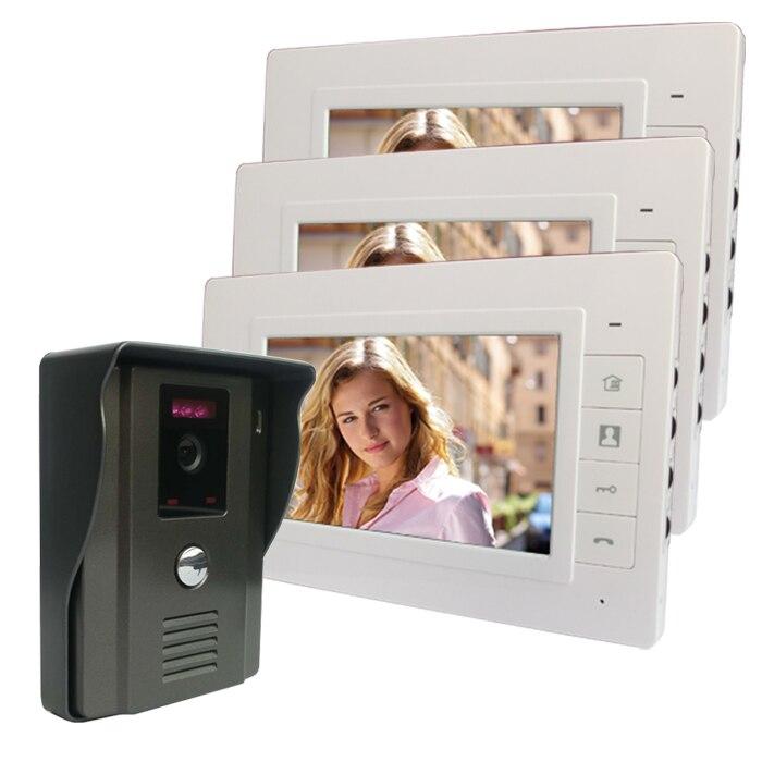 7 ''tft Kleur Video Deurtelefoon Intercom Deurbel Kit Ir Camera Deurintercom 3 Monitor Speakerphone Intercom Jaarlijkse Koopjesverkoop
