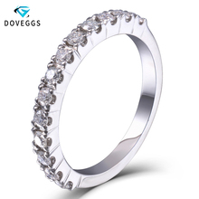 DovEggs Platinum Plated Silver 0.4ctw Carat HI 2.26mm Width Moissanite Diamond Wedding Bands For Women Men Engagement Ring sets