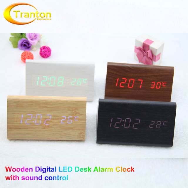 Wooden LED Alarm Clocks Temperature Sounds Control LED Display Novelty Desktop Decoration.