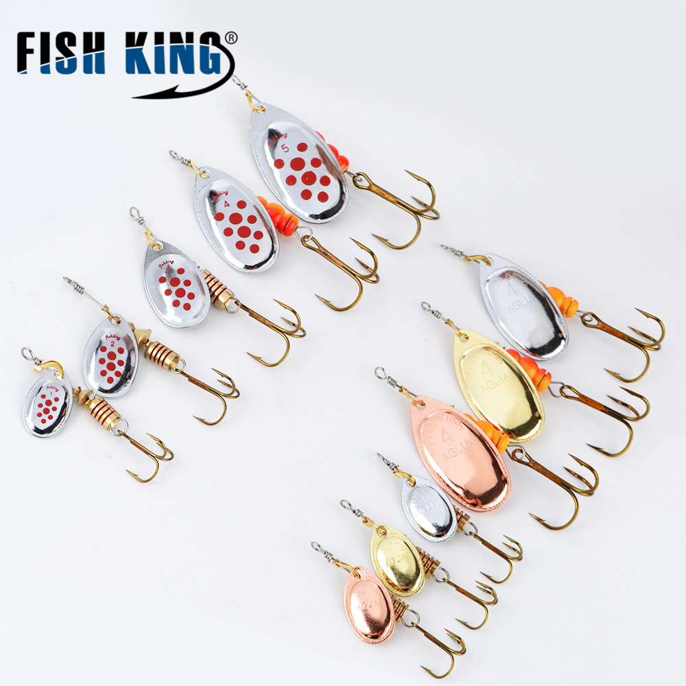 FISH  KING MEPPS 1PC 1# 2# 3# 4# 5# Fishing Lure Bass Hard Baits Spoon With Treble Hook Tackle High Quality fish king 1 pc 24g fishing lure spoon lure noise sequin paillette carp hard fishing baits with 4 mustad treble hook lure