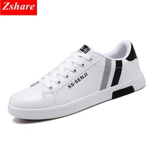 2019 Summer White Men Casual Shoes Man Sneakers PU leather Mocassin homme Fashion Lace-up Black Flats Men Shoes Chaussures homme недорого