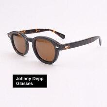 Johnny Depp glasses Men Woman Brand Designer Acetate Optics glasses Frame Polarized Sun glasses Driver Shade Top quality Q080-2 цена и фото
