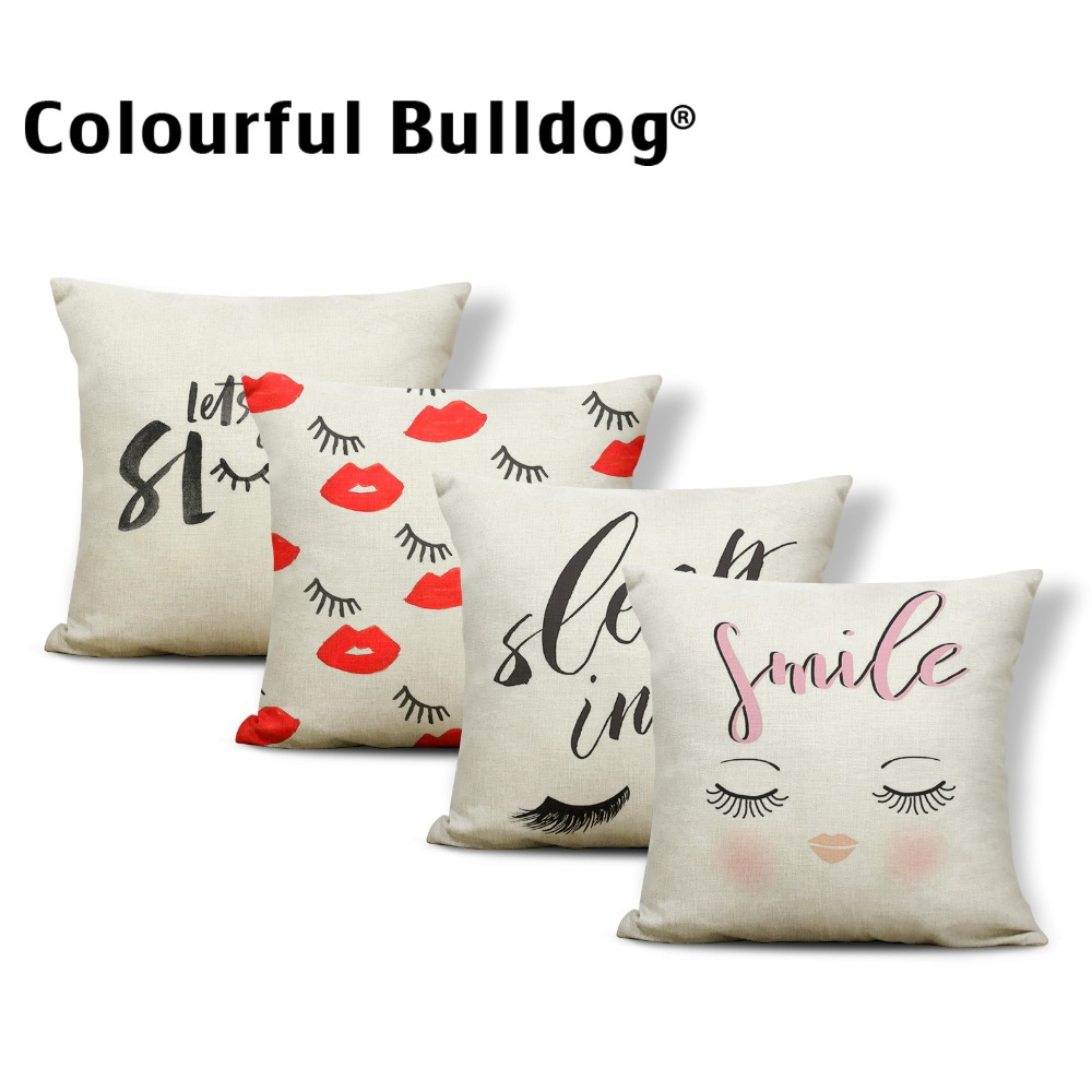 Eyes Cushion Cover Pillow Case Lips Eyelashes Pilow Jobs Cosmetic Stay Focused Throw Cushion Covers 45X45Cm Linen New Variety