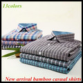 Free shipping New arrival Latest men's long sleeve bamboo fashion plaid casual shirts big size check casual shirts QR-6004