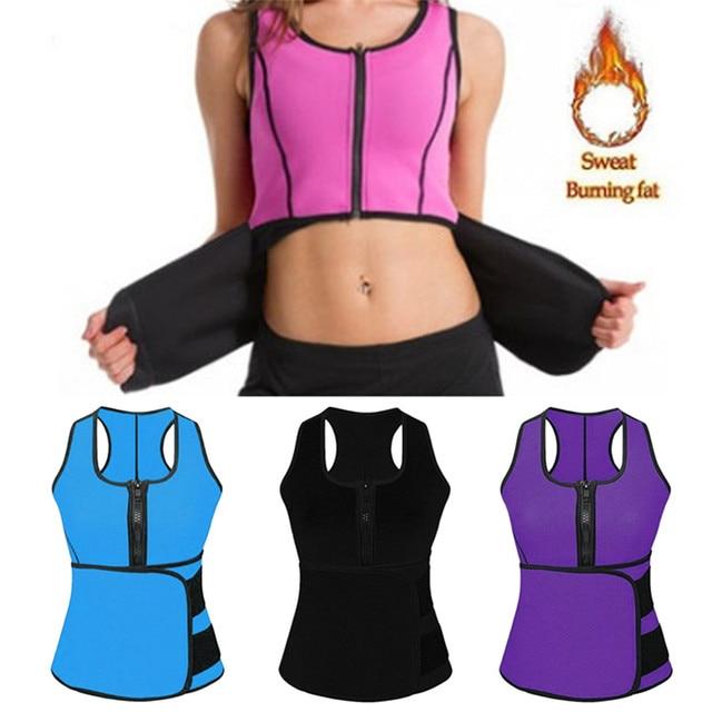 Women Sauna Waist Trainer Vest Gym Adjustable Slimming Sweat Belt Workout Zipper Body Shaper Sexy Shaper Workout Vest 2019 New 1