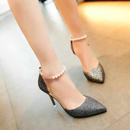 2019 夏ハイヒール小剣指摘女性サンダルスパンコールファッションビーズ女性の靴女性の