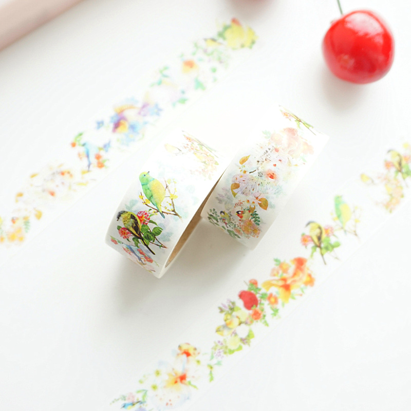 Birds Sing Lucky Fish Washi Tape Adhesive Tape DIY Scrapbooking Sticker Label Masking Tape