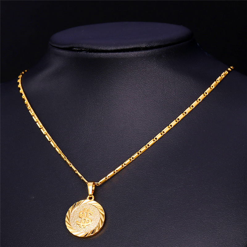 U7 coin necklace menwomen fashion jewelry yellow silvergold u7 coin necklace menwomen fashion jewelry yellow silvergold color round medal money sign us dollar necklaces pendants p619 in pendants from jewelry aloadofball Image collections
