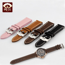 7dc9c41c89c Genuine Leather Watchband Soft Smooth Stitched Strap Pink Light-Brown Black Suede  Leather Bracelet Common