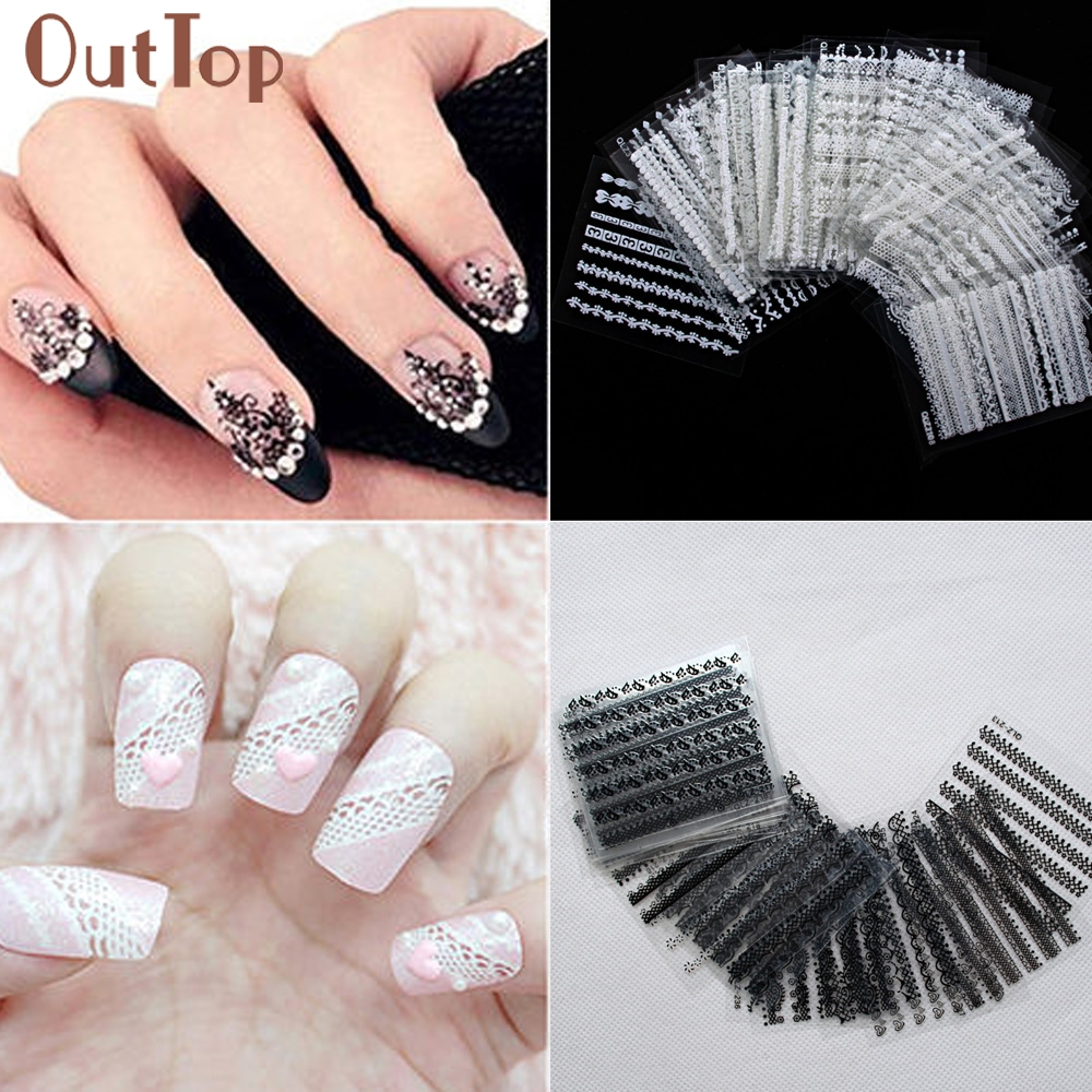 nail art decorations 30 Sheets 3D Lace Nail Art Stickers DIY Tips Decal Manicure Tools  ar12 Levet dropship gtbracing gtx5 body shell transparent and silver color for hpi km rv baja 5b ss gy009
