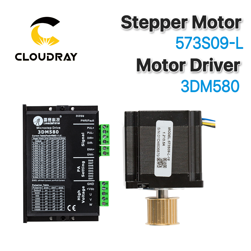 Cloudray Leadshine 3 Phase Stepper Motor 573S09-L-18/573S15-L-18+Stepper Driver 3DM580 for CO2 Laser Engraving Cutting Machine kindlelaser leadshine 2 phase laser stepper driver dma860h 18 80vac 2 4 7 2a for laser stepper motor
