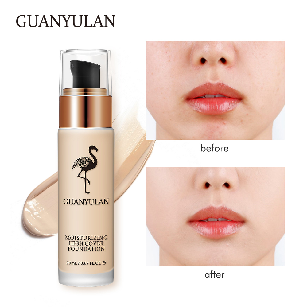 GUANYULAN Liquid Foundation Invisible Full Coverage Make Up Concealer Whitening Moisturizer Waterproof Makeup Foundation 20ml