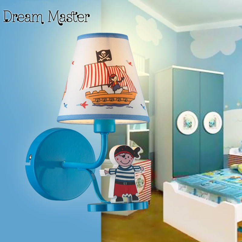 Mediterranean pirate ship cartoon  wall lamp children room LED bedroom bedside lamp wall lamp free shipping personalized creative cartoon children s lamp led eye care girl baby bicycle children s room lamp free shipping