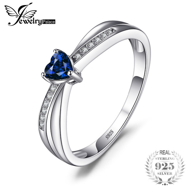 JewelryPalace Love-Heart 0.38ct Created Sapphires Engagement Ring For Women 925